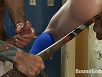 Innocent baseball jock gets violated by his nasty coach.
