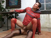 Stockinged guy lusting for hot ass-cramming action with a sex-crazy tranny
