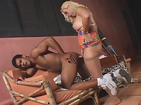 Blonde shemale babe going for tight brown male butt poking it really hard