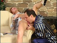 Fiery lass teasing an older male with her cutty skirt aching for oral games