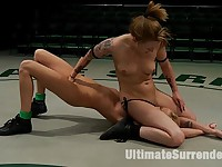 2 blonds battle to see who gets 2 fuck the other. Brutal scissor submissions, headlocks & grapevines