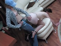 Pig-tailed lezzie eagerly taking strap-on up her tight ass on all her fours